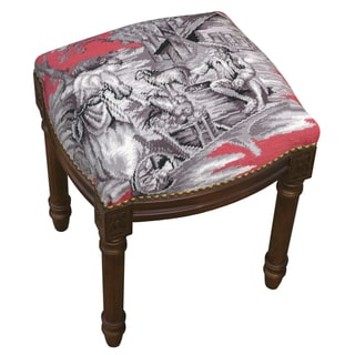 Country Toile Pink/ Grey Needlepoint Stool