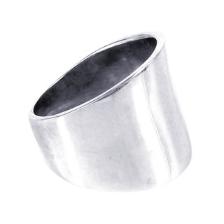 Handmade Plain Wide Front Design .925 Sterling Silver Ring (Thailand)