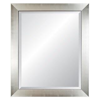 Silvertone/ Black Edged Silver Framed Wall Mirror