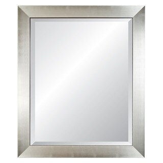 Silvertone/ Black Edged Silver Framed Wall Mirror