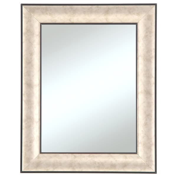 Silvertone black edged silver framed wall mirror free for Silver framed mirrors on sale