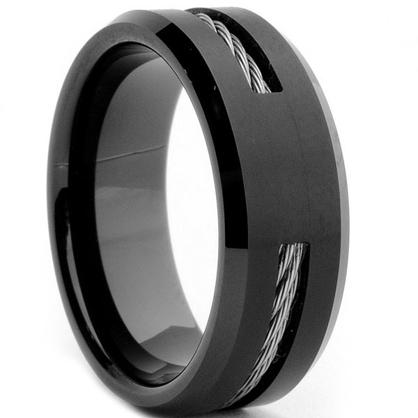 fb7acad1a2b4 Shop Tungsten Carbide Black-plated Steel Cable Inlay Ring - On Sale ...