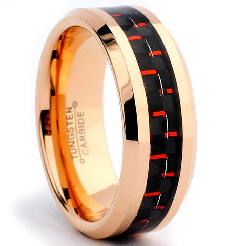 Tungsten Carbide Rose Goldplated Black and Red Carbon Fiber Inlay Ring
