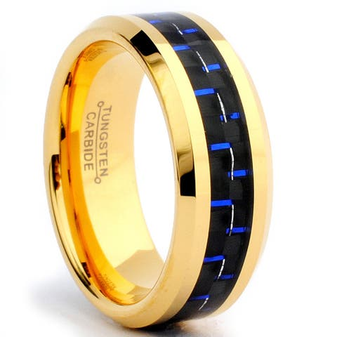 Tungsten Carbide Goldplated Black and Blue Carbon Fiber Inlay Ring