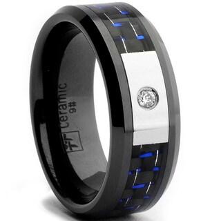 Oliveti Black Ceramic Men's CZ Black and Blue Carbon Fiber Inlay Ring (8 mm) (Option: 12.25)