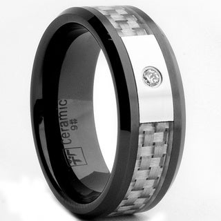 Oliveti Black Ceramic Men's CZ and Grey Carbon Fiber Inlay Ring (8 mm)