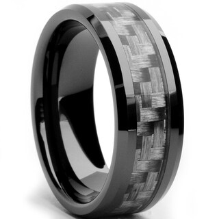 Oliveti Black Ceramic Men's Grey Carbon Fiber Inlay Ring (8 mm) (More options available)