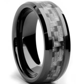 oliveti black ceramic mens grey carbon fiber inlay ring - Ceramic Wedding Rings