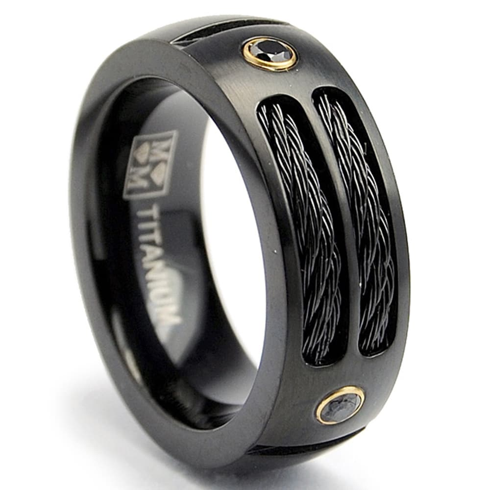 Oliveti Black Plated Titanium Mens Steel Cable And