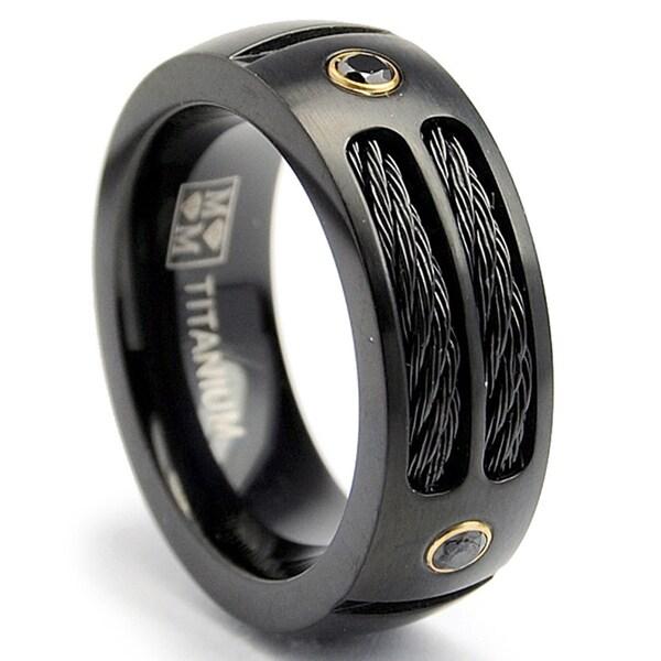 Oliveti Black Plated Titanium Mens Steel Cable And Black