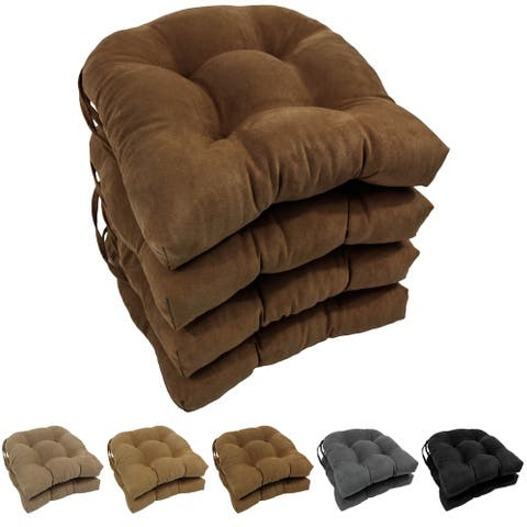 Blazing Needles 16-inch U-shaped Microsuede Chair Cushion (Set of 4)