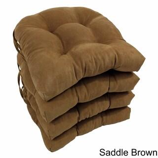 Blazing Needles 16-inch U-shaped Microsuede Chair Cushion (Set of 4)