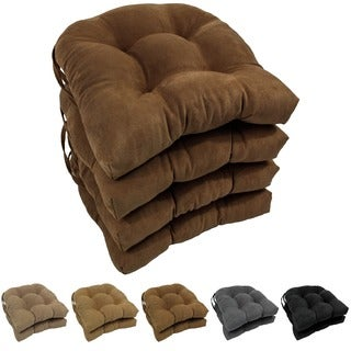 Blazing Needles Neutral 16-inch U-shaped Microsuede Dining Chair Cushions (Set of 4)