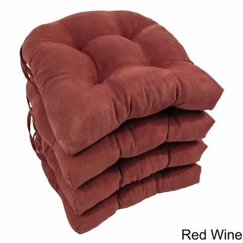 Blazing Needles16-inch U-shaped Microsuede Chair Cushions (Set of 4)