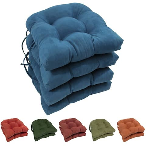 Blazing Needles16-inch U-shaped Microsuede Chair Cushions (Set of 4)