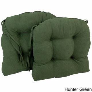 Blazing Needles Earth-tone 16-inch U-shaped Microsuede Dining Chair Cushions (Set of 2)