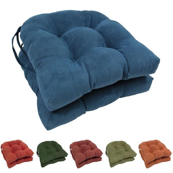 Blazing Needles Earth-tone 16-inch U-shaped Microsuede Dining Chair Cushions (Set of 2) - 16 x 16 x 3.5