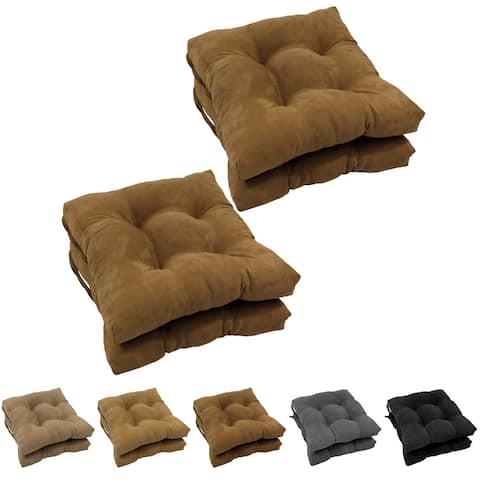 Blazing Needles 16-inch Microsuede Square Chair Cushion (Set of 4)