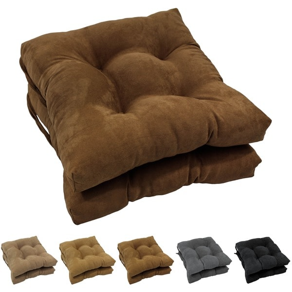 Blazing Needles 16-inch Square Microsuede Chair Cushion (Set of 2)