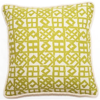 Corona Decor Yellow/ Beige Lattice Pattern 18-inch Throw Pillow