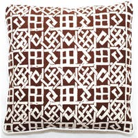 Corona Decor Brown/ White Lattice Design 18-inch Throw Pillow