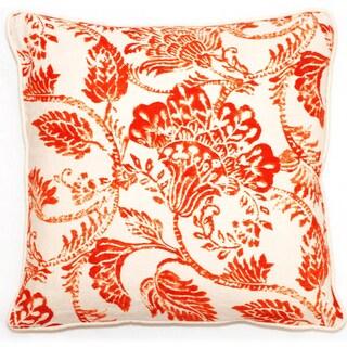 Corona Decor Bali Collection Orange Floral 18-inch Throw Pillow