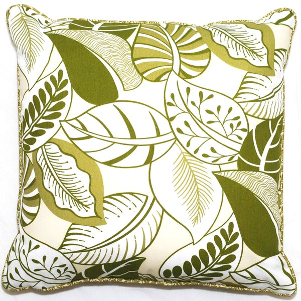 Corona Decor Green Floral Outdoor Living 18-inch Throw Pillow
