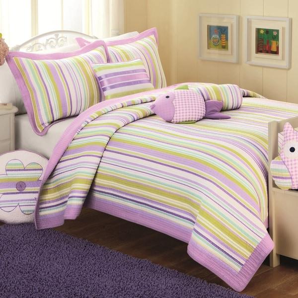 Purple Stripe 3-piece Quilt Set