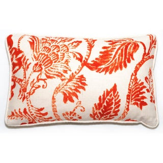 Corona Decor Rectangular Orange Floral Throw Pillow