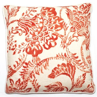 Corona Decor Red Floral 18-inch Throw Pillow