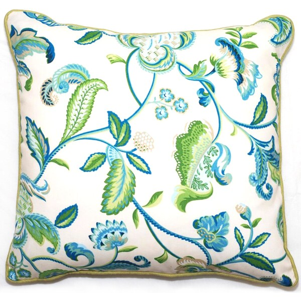 Green/ Blue Floral Outdoor Living Throw Pillow/18-inch