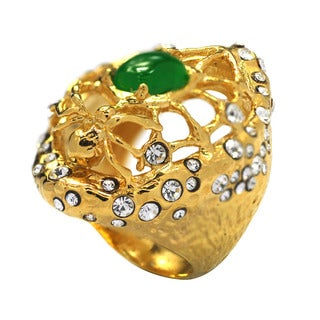 De Buman 14k Gold Plated Green Jade and Crystal Spider Ring