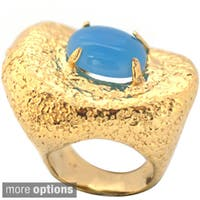 De Buman 14k Goldplated Shell or Blue Jade Ring