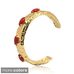 De Buman 14k Gold Plated Coral, Lapis, Shell or Blue Jade Gemstone Cuff Bracelet