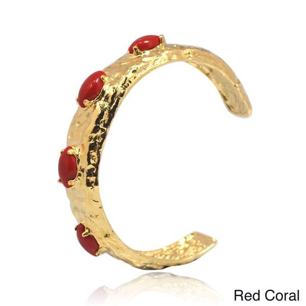 De Buman 14k Gold Plated Coral, Lapis, Shell or Blue Jade Gemstone Cuff Bracelet