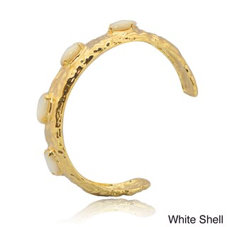 De Buman 14k Gold Plated Coral, Lapis, Shell or Blue Jade Gemstone Cuff Bracelet (4 options available)