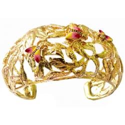 De Buman 14k Gold Plated Enamel Bee Cuff Bracelet