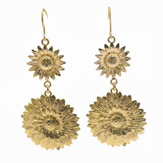 De Buman 14k Gold Plated Flower Earrings