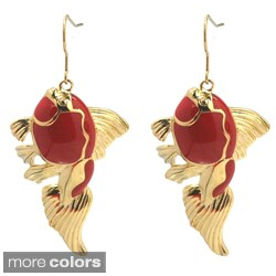 De Buman 14k Gold Plated Enamel Fish Earrings