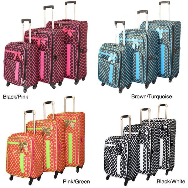 World Traveler Polka Dot Delight 3-piece Expandable Lightweight Spinner Luggage Set