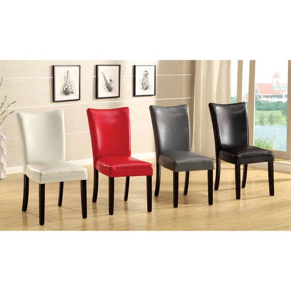 Furniture of America Davao Parson Leatherette 2-piece Dining Chairs Set