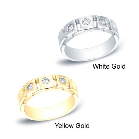 Auriya Men's 14k Gold 1/3ct TDW 3-Stone Diamond Wedding Band