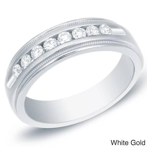 Auriya Men's 14k Gold 1/2ct TDW Channel-Set Diamond Wedding Ring