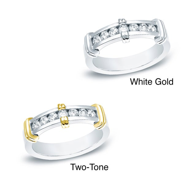 Auriya 14k White or Two-tone Gold Men's 1/2ct TDW Diamond Ring