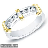 Auriya 14k White or Two-tone Gold Men's 1/2ct TDW Diamond Ring Wedding Band