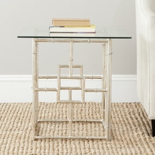 Safavieh Treasures Dermot Silver/ Glass Top Accent Table