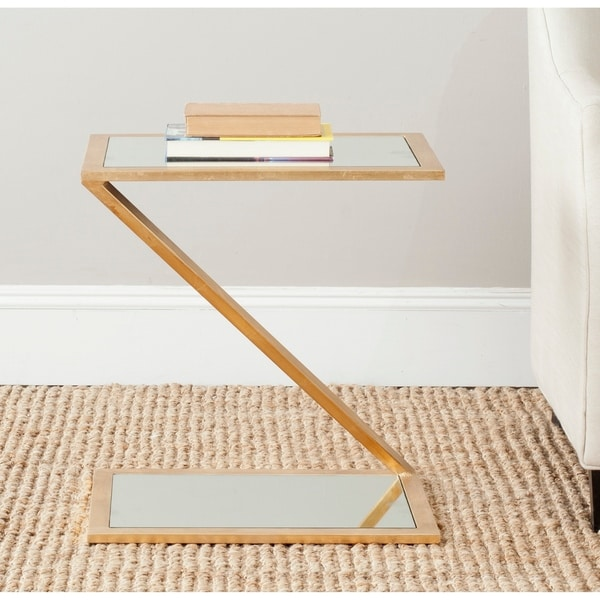"""Safavieh Treasures Andrea Gold/ Mirror Top Accent Table - 19.7"""" x 13.7"""" x 21.5"""". Opens flyout."""