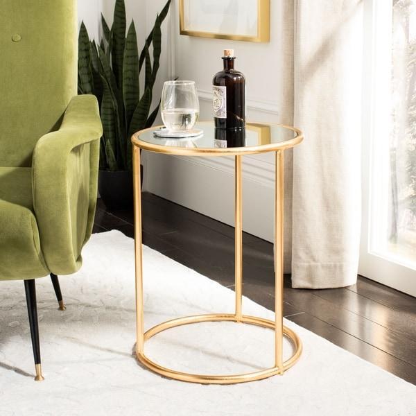 """Safavieh Treasures Shay Gold/ Mirror Top Accent Table - 15"""" x 15"""" x 19.7"""""""