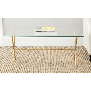 Safavieh Treasures Brogen Gold/ Glass Top Accent Table