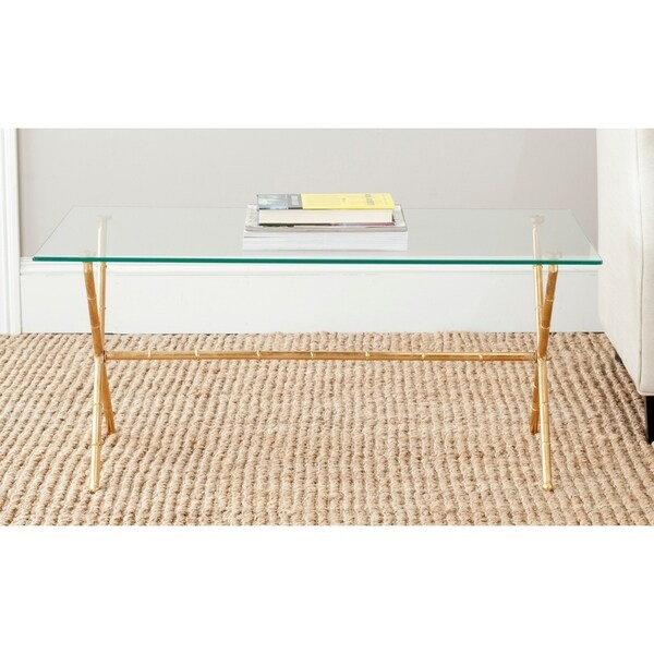 "SAFAVIEH Treasures Brogen Gold/ Glass Top Accent Table - 37.4"" x 20.7"" x 17"". Opens flyout."